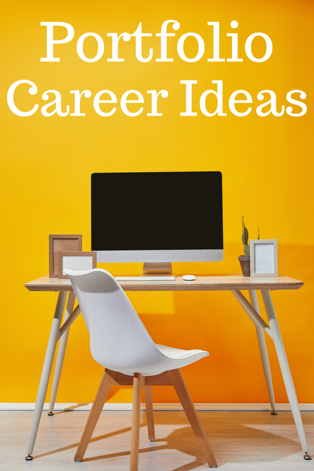 """Portfolio Career Ideas"" desk, computer and chair on yellow background"