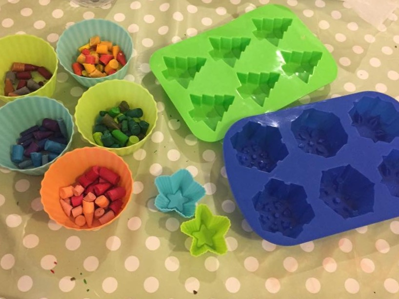Equipment needed to make melted crayon Christmas tree decorations