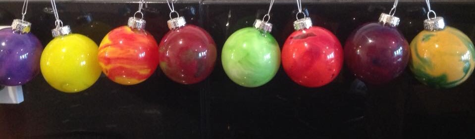 Melted Crayon Glass Bauble Ornaments