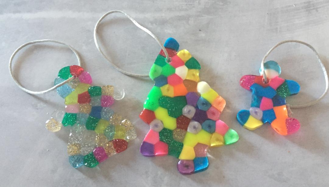 Melted bead tree ornaments