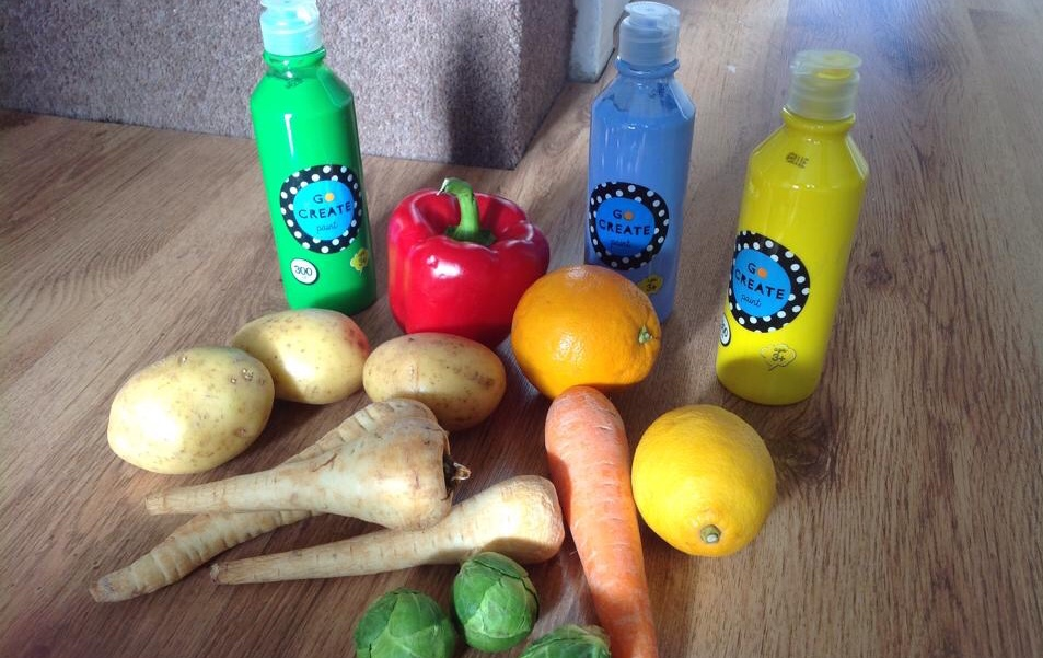 Craft based toddler group activities- fruit and veg printing