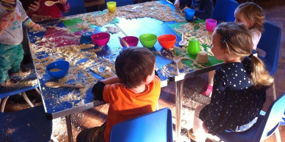 Messy play toddler group activities - cloud dough