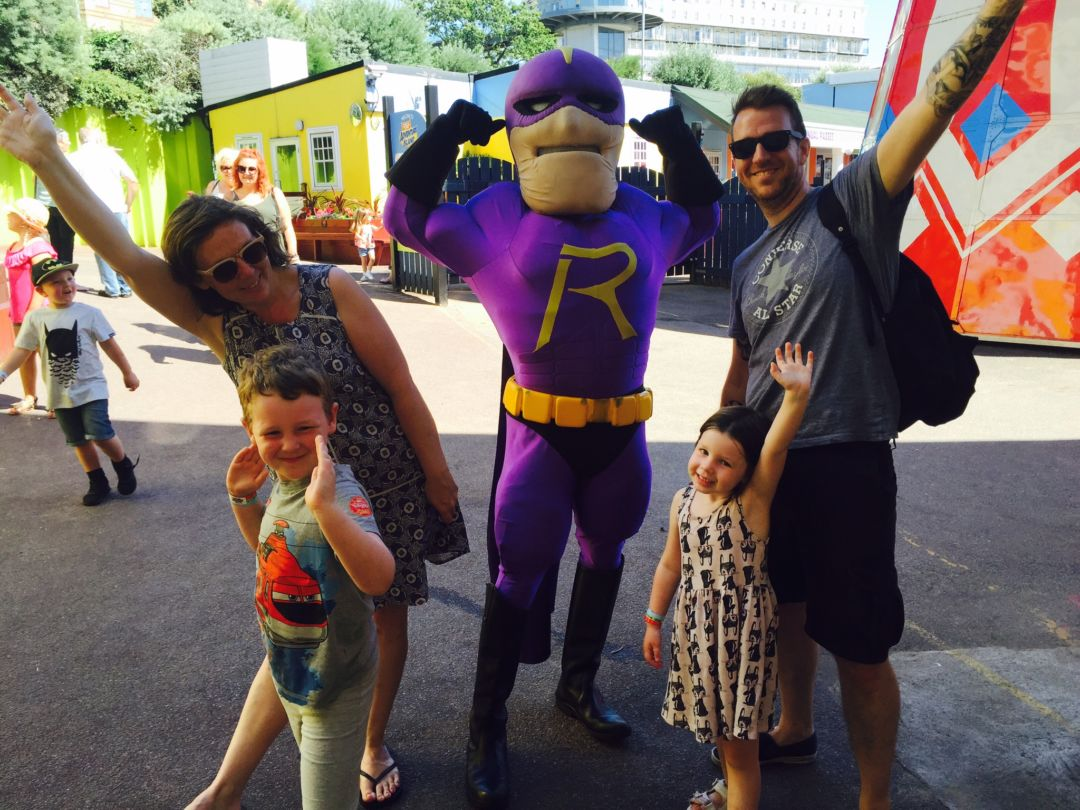 "How to save money on family days out, I,age of family of 4 on a day out at adventure island with ""Rage man"""