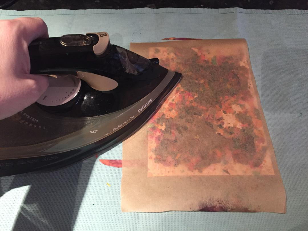 Ironing the Melted crayon cards