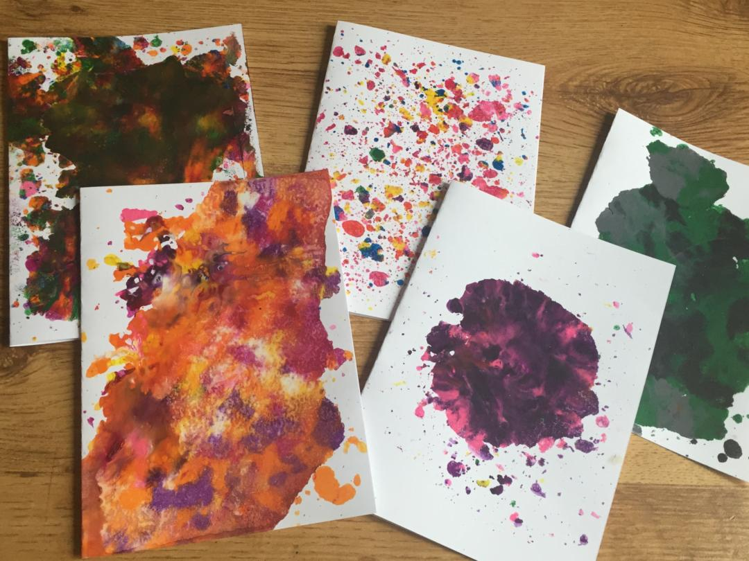 Melted crayon cards after the melting
