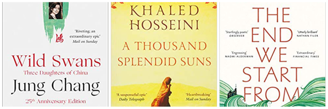 A thousand splendid suns, the end we started from and wild Swans book images