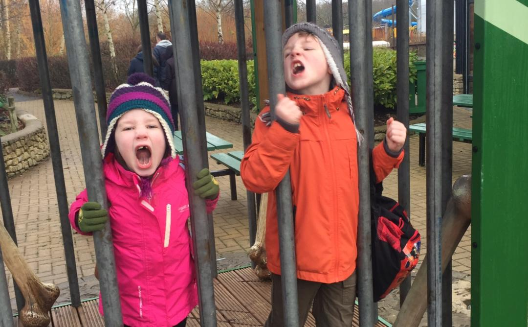 Bored kids roaring in a cage