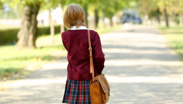 Child walking to school alone