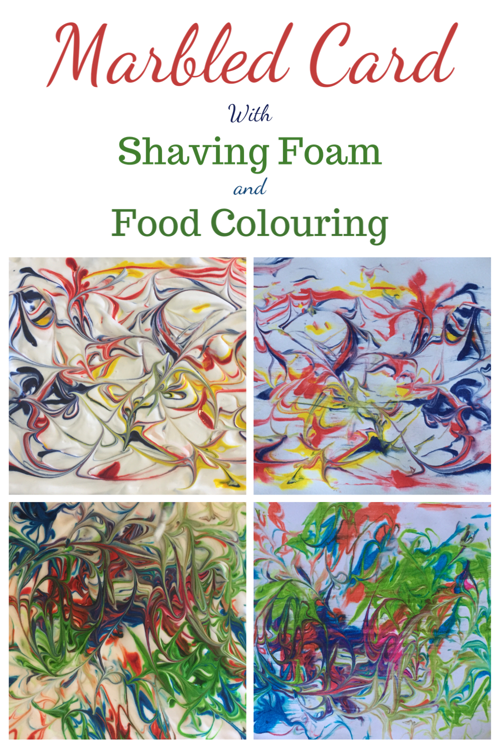 Marble card with shaving foam and food colouring