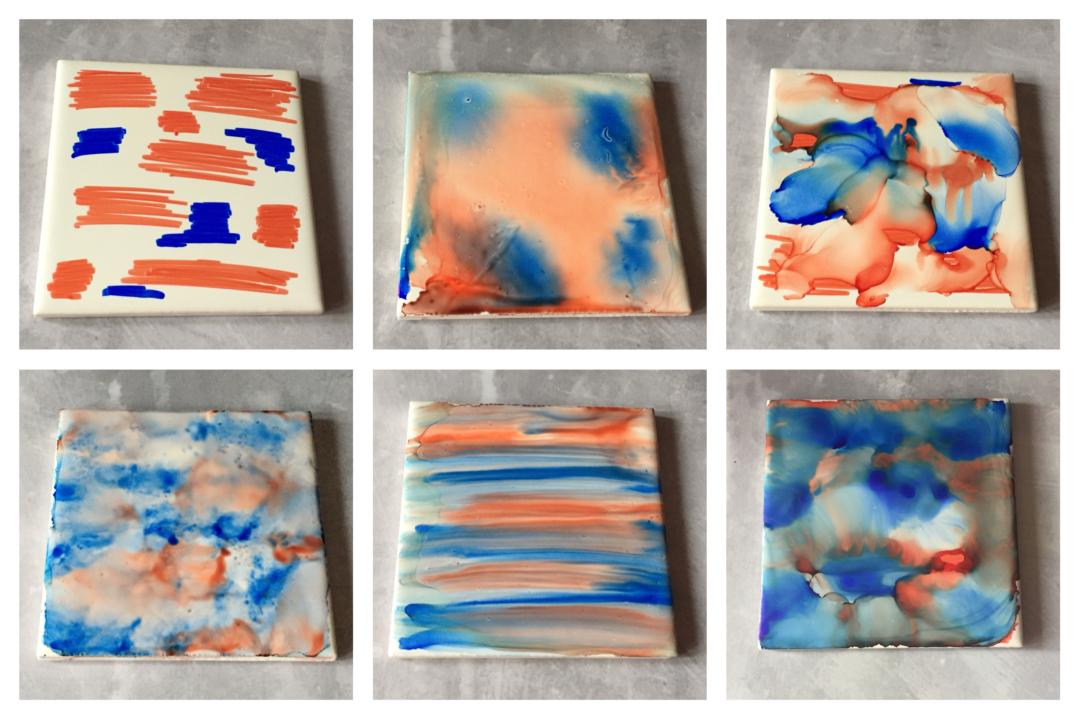 Different methods of applying rubbing alcohol to sharpie tiles