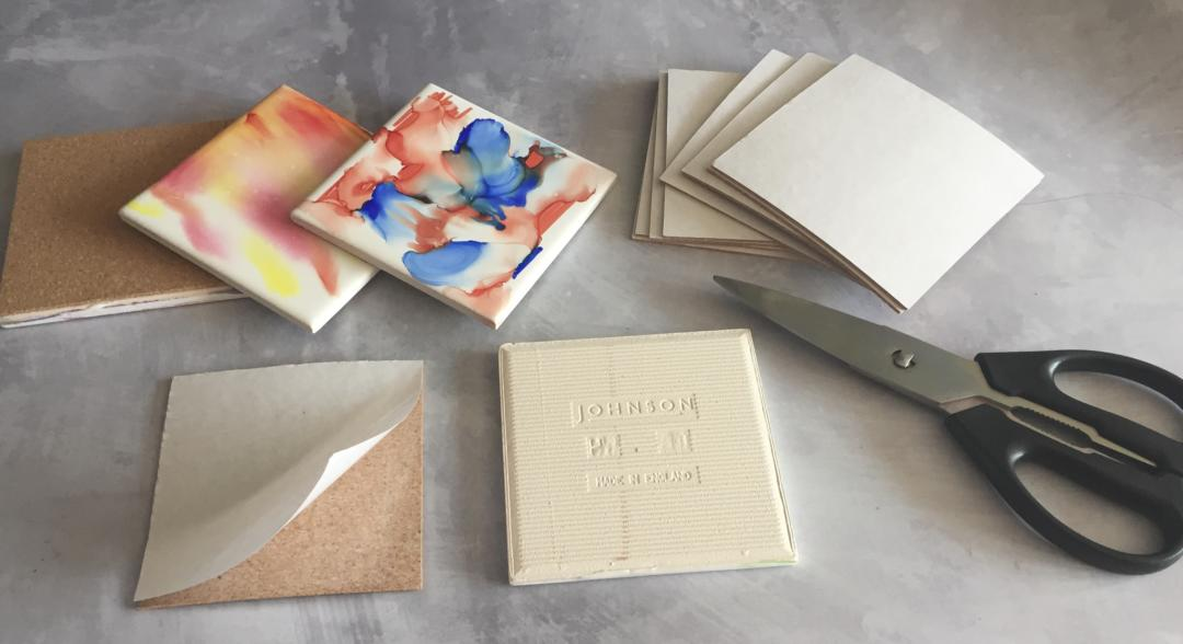 Putting cork backing on to the ceramic tile coasters