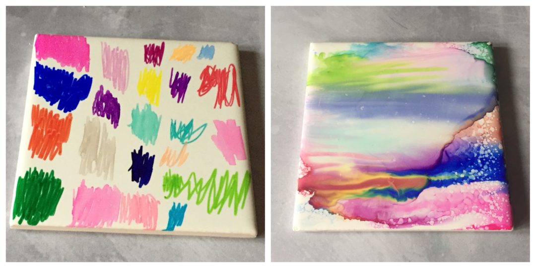 Multi colour sharpie coaster before and after
