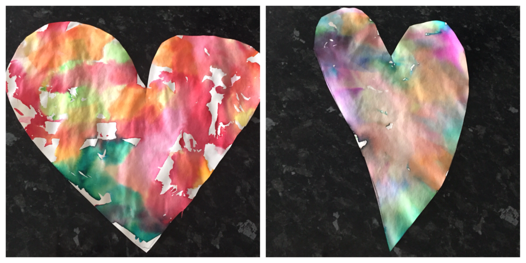 Tissue paper dyed art in heart shapes
