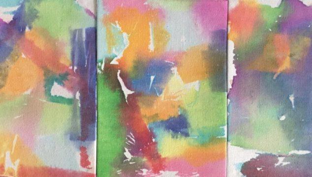 Tissue paper art on canvas