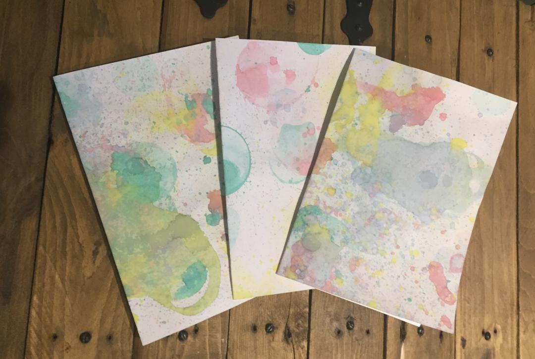Bubble painting made into cards
