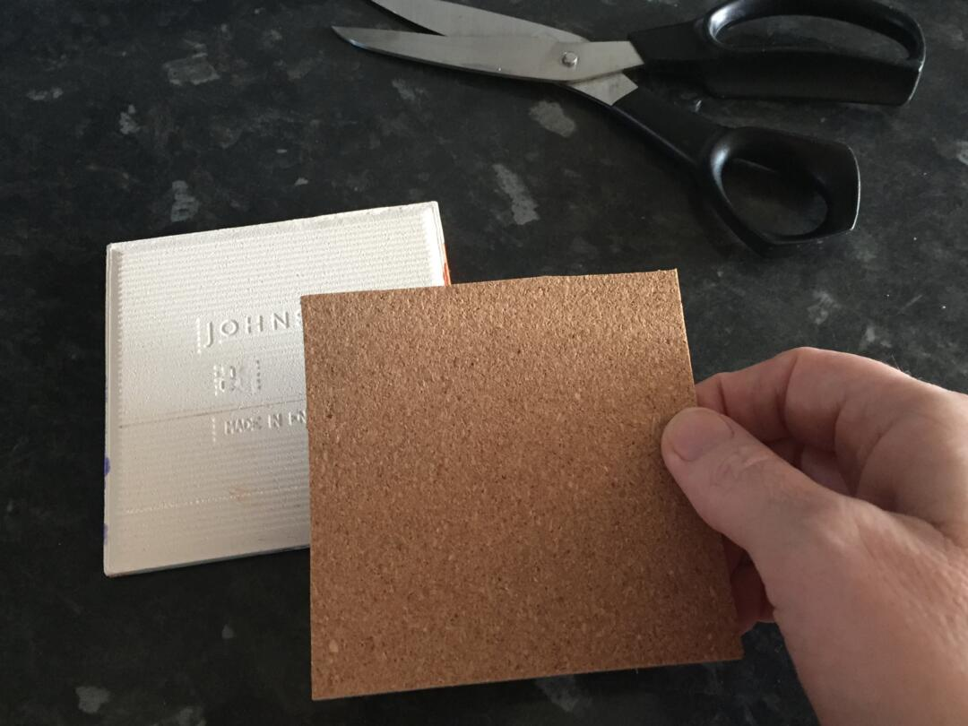 Cutting the cork backings to size