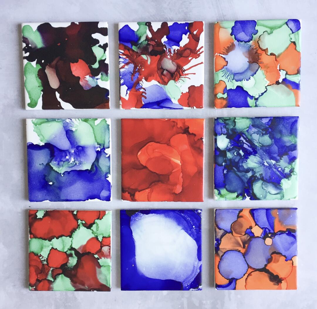 Our finished alcohol ink tile coasters