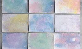 Chalk marbling on A5 card
