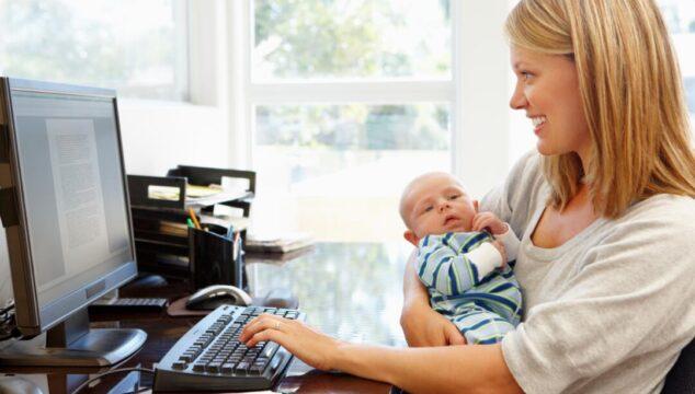 Woman doing a work at mum job