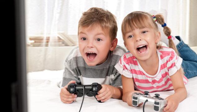 Children enjoying screen time