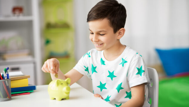 Child counting pocket money