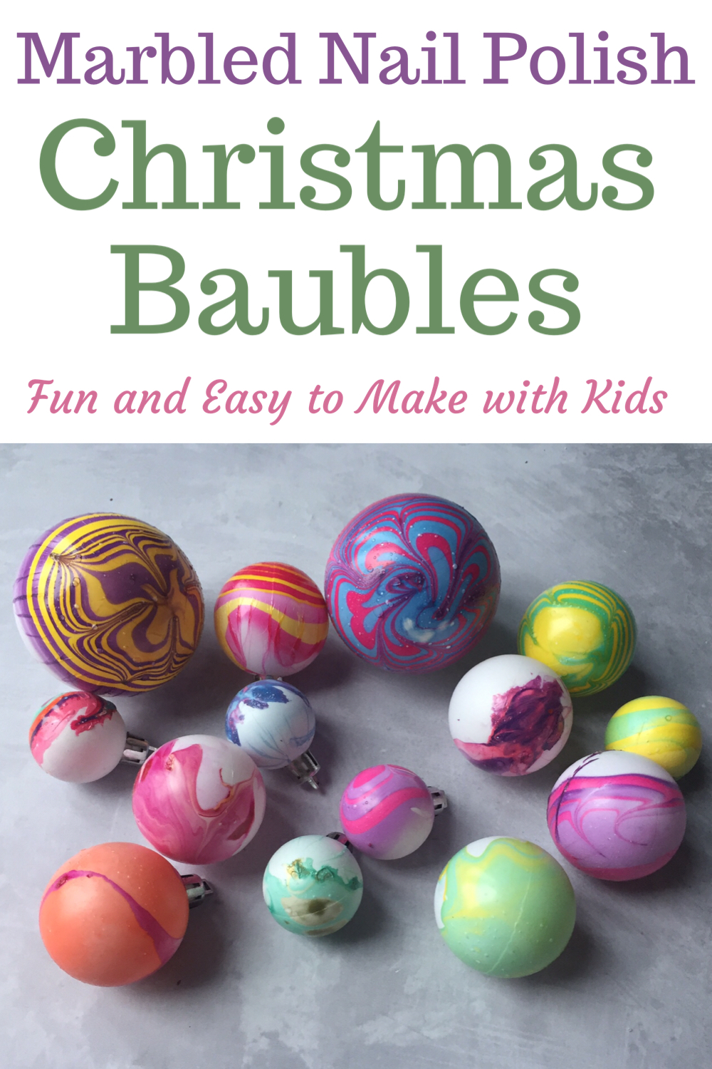Marbled nail Polish Christmas baubles - Fun and easy to make with kids
