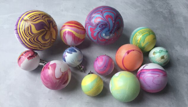 The finished marbled nail Polish baubles ready for the Christmas tree