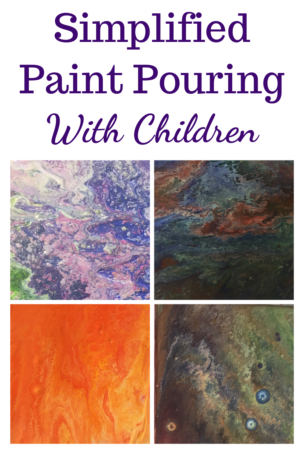 Simplified paint pouring with children