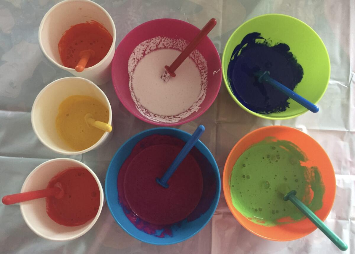 Paints mixed and ready to pour