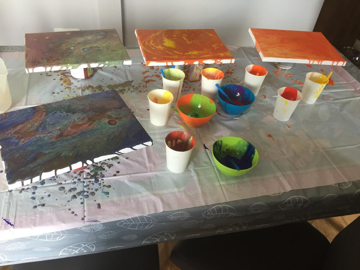 The mess we made painting pouring with children!