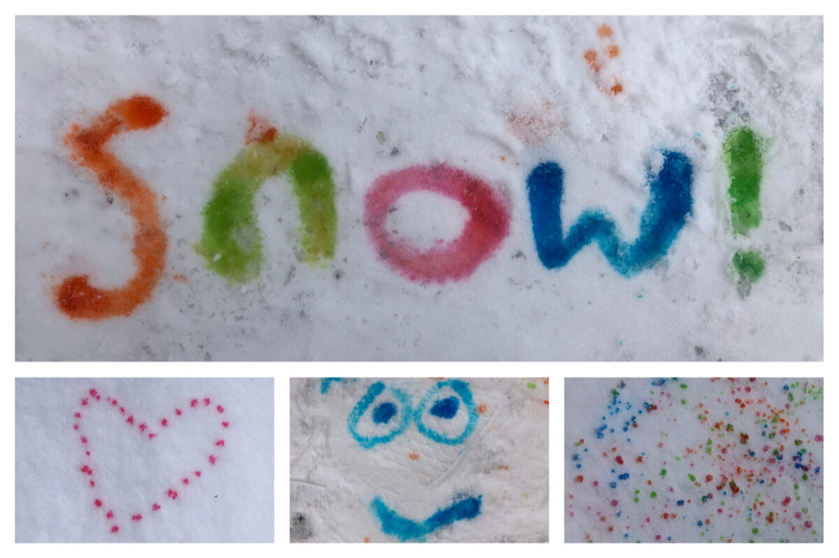 Some of the process art we did in the snow