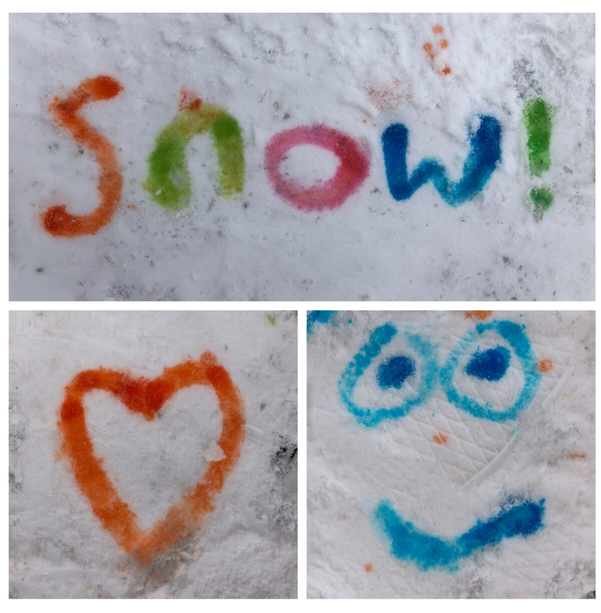 Using paintbrushes to paint in snow