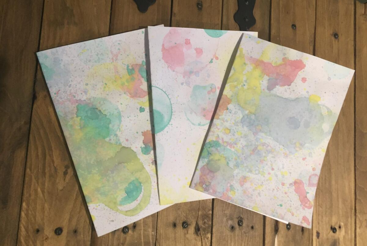 Bubble painting with food colouring