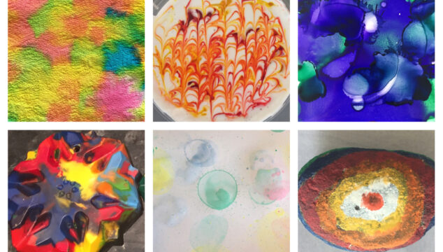 Different effects created with different process art materials
