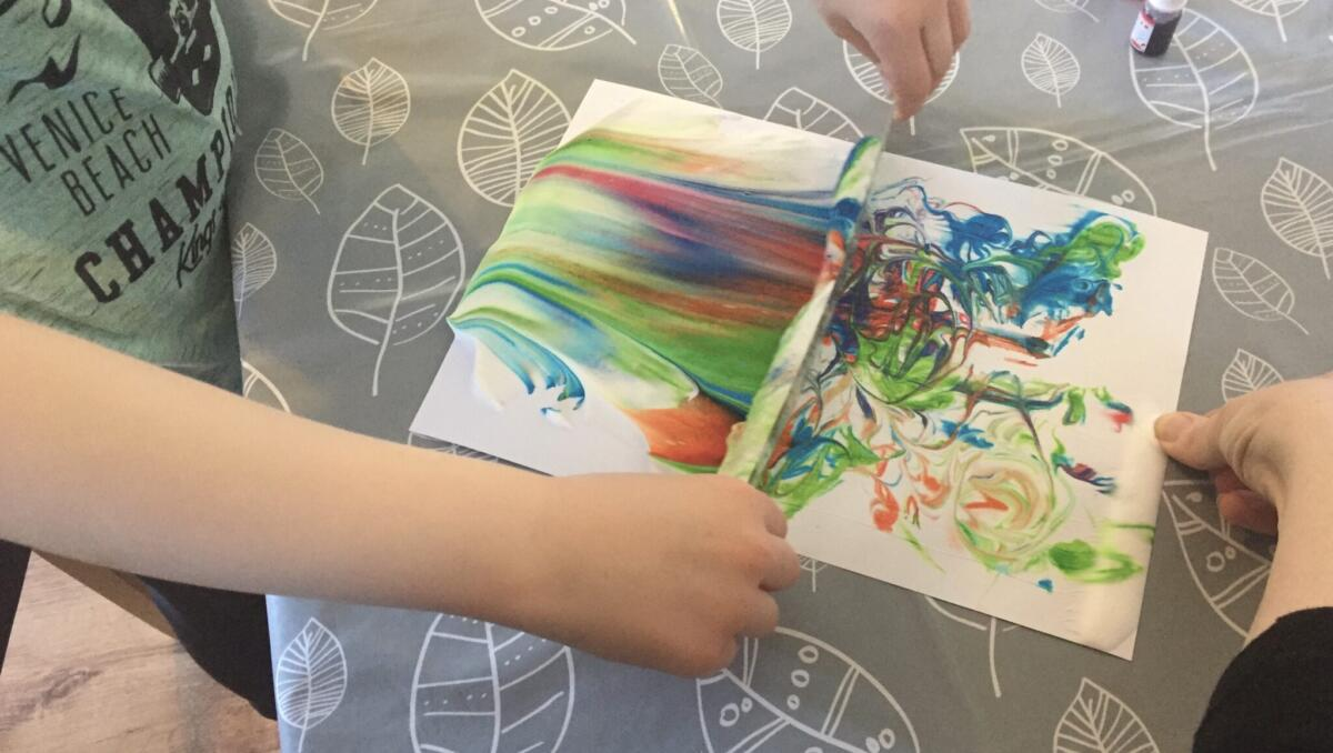 Marbling with Food colouring and shaving foam