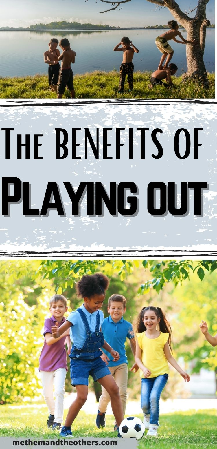 The benefits of playing out - Boys playing the woods, girls playing football