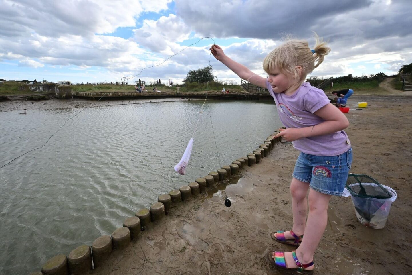 Catching crabs in Suffolk at Walberswick