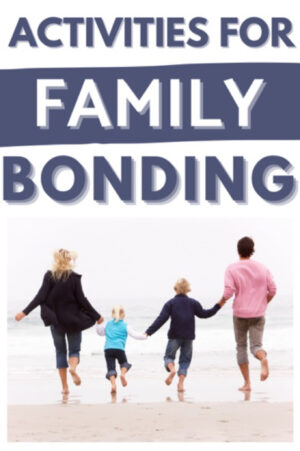Family running along the beach, text reads: Activities for family bonding