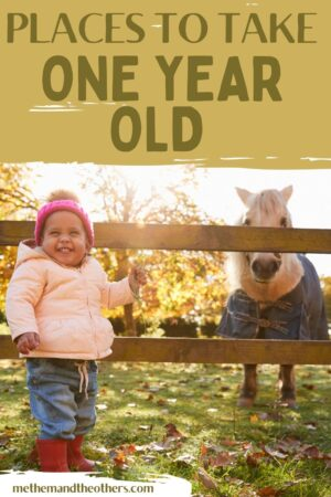 """One year old girl at a farm with a pony, text reads """"Places to take a one year old"""""""