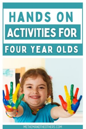 young girl with her hands painted multiple colours, text reads: hands on activities for four year olds