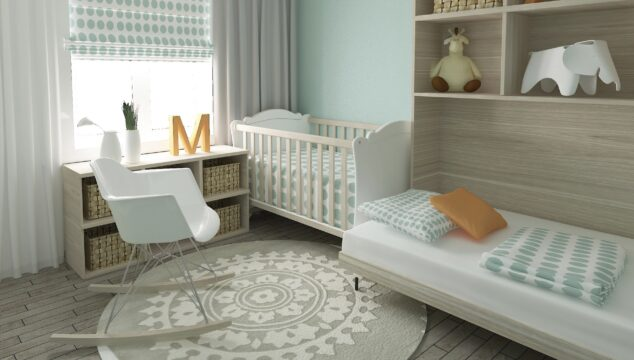Nursery with cor, shelves, bed and nursing chair